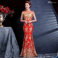 Wholesale cheap woman cheongsam dress online, ankle-Length - Find best hot sale! luxury and elegant women lace silk slim chinese long cheongsam dress improved red short sleeve bridal dress 4 sizes at discount prices from Chinese chinese dresses,Cheongsam supplier on DHgate.com.