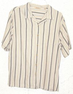 Lucky Brand Dungarees Mens Gold Cream Striped Short Sleeve Button ...