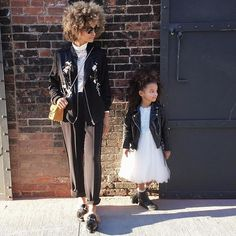 Mom and daughter too cool ootd