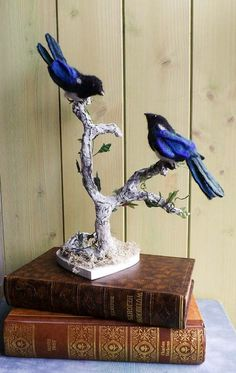 wedding topper,personalised cake topper,magpies birds ,ooak wedding sculpture,anniversary gift,engagement,needle felted birds in a branch by WaggledanceArt on Etsy