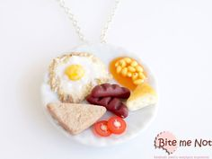 Mini Food Jewelry English Breakfast Necklace by BiteMeNot on Etsy