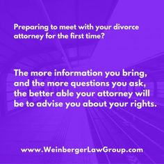 Meeting with a #divorceattorney for the first time http://www.weinbergerlawgroup.com/blog/newjersey-law-divorce-separation/7-things-to-think-about-when-youre-getting-ready-for-divorce/