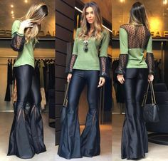 Calça Flare Lycra Encorpada - Paloma na Laduda Boutique Prada, Blazers, Neoprene, Skinny, Wide Leg Jeans, Shorts, Flare Jeans, Bell Bottoms, Casual