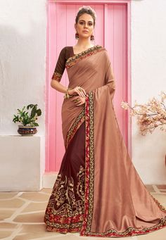 Buy Light Brown Chanderi Silk Half N Half Saree 212077 with blouse online at lowest price from vast collection of sarees at Indianclothstore.com. Indian Designer Sarees, Designer Sarees Online, Indian Sarees, Chanderi Silk Saree, Art Silk Sarees, Fancy Sarees, Party Wear Sarees, New Fashion Saree, Indian Fashion