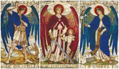 THE 3 Archangels <3 i will never forget this picture from my high school! it was always hanging in a hall and i fell in love with it at first sight. introduced me to st raphael.