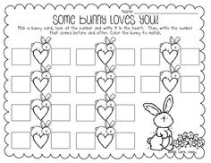 *Some Bunny Loves You (K.CC.2) Before and after with numbers between 20 and 50