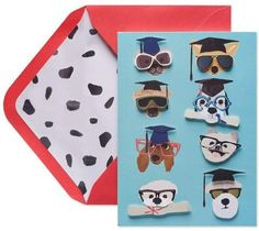 Papyrus Dogs With Hats And Glasses Graduation Greeting Card #affiliate