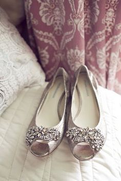 Sparkly #silver flats with #rhinestones (Photo by The Nichols)