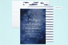 """""""Celestial"""" - Whimsical & Funny Baby Shower Invitations in Midnight Sky by Grace Kreinbrink. Baby Orchid, Baby Shower Invitations, Wedding Invitations, Midnight Sky, Custom Stamps, Holiday Cards, Whimsical, Celestial, Funny"""