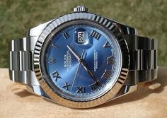 Fancy - Rolex Oyster Perpetual Datejust II Blue Azzurro White Gold Fluted
