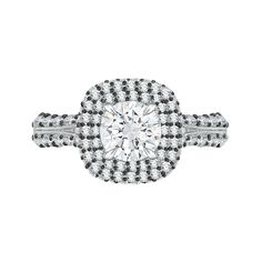 18K White Gold with Black Rhodhium Tips 1 3/4 Ct Diamond Carizza Semi Mount Engagement Ring to fit Round Diamond