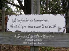 As Two Families Are Becoming One GUEST SEATING SIGN, Wedding Sign, Shabby Chic Wedding, Vintage Wedding Decor, Vintage Wedding Sign