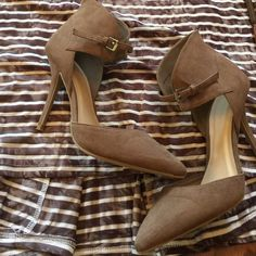 "Taupe heels BEAUTIFUL brand new taupe heels. Suede material. 4 inch heel. Adjustable strap around ankle. Love this color and style! Only offers made with ""offer"" feature will be considered. Buy 2 or more items and get 10% off your purchase. No trades. No PayPal. Thanks! Shoes Heels"