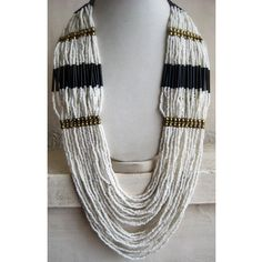 White Necklace/Beadwork Necklace/Statement by FootSoles on Etsy, $28.90