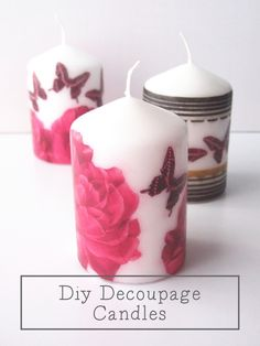 Decoupaged candles... What *can't* be transformed with a little Mod Podge and fun ephemera? www.facebook.com/junkettossedandfound