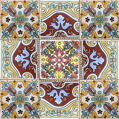 9 мексиканских плитки керамика талавера мексика ручная работа арт талавера плитка комплект #A008