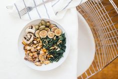 Simple Sweet Potato and Greens Bowl, the best of fall in 1 easy meal. Nutrition Stripped