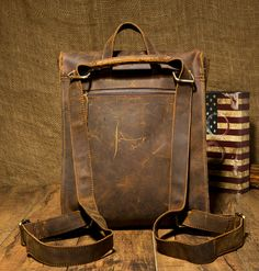 Handmade Leather Backpack /Vintage Leather Macbook Briefcase 2-in-1 Leather School Bag Backpack (M101) - Thumbnail 1