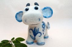 Needle felted cow Gzhel cow white blue by HelenDream on Etsy, $50.00