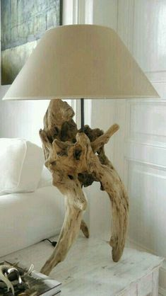 Tree root lamp base for bedside table lamp