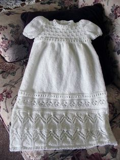 Free Knitting Pattern for Tapestry Christening Gown - Lovely lace baby dress from Judy Lamb