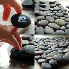 naturbelassene Fußmatte mit Flusssteinen selber machen