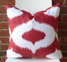 Red Ikat Linen Cotton Handmade Decorative Pillow|Duralee Dalesford Pillow Cover|Accent Pillow