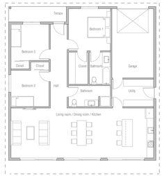 House Plan Modern House Plan to Modern Family. Modern Floor Plans, Home Design Floor Plans, Contemporary House Plans, House Floor Plans, Three Bedroom House Plan, Bedroom Floor Plans, Japanese Style House, House Construction Plan, Model House Plan
