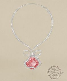 This sketch depicts the Tiffany Anniversary Morganite necklace, which was inspired by the famous white ribbon crowning the Tiffany Blue Box®.