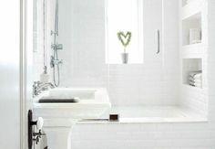 baño color blanco planta corazon