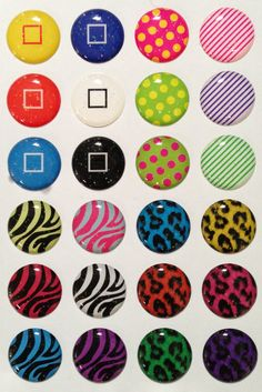 Zebra, Leopard, Square, Dots and Stripes with Glitter - 24 Pieces 3D Semi-circular iPhone Home Button Stickers