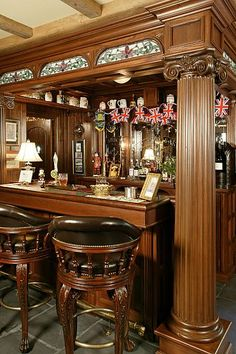 British pub designed for a private home.  Gorgeous woodwork!  Great details.