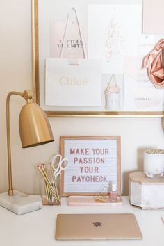 Dusty Rose and Gold Office Tour – Money Can Buy Lipstick – Office Organization At Work Home Office Space, Home Office Design, Desk Space, Gold Office Decor, Work Desk Decor, Modern Office Decor, Contemporary Office, Desk Inspiration, Future Office