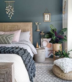 What a stunning bedroom by using 🎨Inchyra Blue by 😍 Stunning! Green Master Bedroom, Blue Bedroom Decor, Bedroom Wall Colors, Bedroom Color Schemes, Room Ideas Bedroom, Home Bedroom, Bedroom Designs, Blue Gray Bedroom, Best Colour For Bedroom