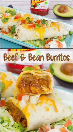 Beef & Bean Baked Burritos www. Lunch Recipes, Easy Dinner Recipes, Mexican Food Recipes, Beef Recipes, Great Recipes, Easy Meals, Cooking Recipes, Favorite Recipes, Ethnic Recipes