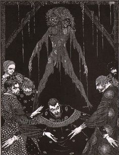 Harry Clarke, Illustrations for E. Poe Tales of Mystery and Imagination by Poe, illustrated by Harry Clarke (Ireland, 1889 - Edgar Allen Poe, Edgar Poe, Harry Clarke, Allan Poe, Edgar Allan, Larp, Mystery, Aubrey Beardsley, Irish Art