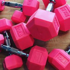 Pink Rubber Hex Aerobic Dumbbell Set of Pairs Home Gym Equipment, No Equipment Workout, Workout Gear, Fun Workouts, Crossfit Equipment, Training Equipment, Home Gym Garage, At Home Gym, Hex Dumbbells