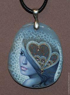 """Купить Кулон """"Ледяная Леди"""" - лаковая миниатюра, натуральный камень, кулон, ручная роспись"""