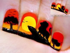 disney nails | would never do this on my nails cuz it would be impossible to do on yourself but this is pretty awesome looking. Lion King nails