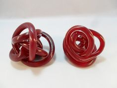 Vintage Art Glass Hand Blown Twisted Knot Rope Red / by KathiJanes