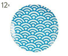 Set de 12 platos en porcelana Pianta - Ø25 cm