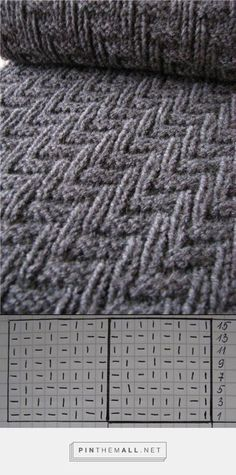 Here is an easy knitting pattern that is perfect for a man's scarf (or a woman's too). ~ Key: | = Knit; –– = Purl. ~~ Cast on a multiple of 16 stitches. Knit according to the diagram. Start at the bottom right corner. When knitting the wrong side of the scarf just follow the pattern of the previous row. Repeat every 15 rows. It's just that simple!