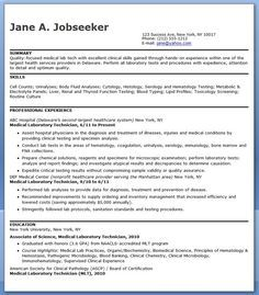 Use This Free Medical Laboratory Technician Resume Sample To Help Create  Your Own Professional Resume For Your Job Search.