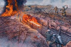 German flamethrower attack on French trenches in hell of Verdun, courtesy of Steve Noon.