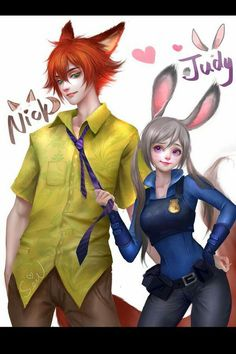 Humanized Judy Hopps and Nick Wilde