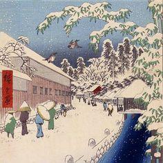 Winter, Edo Japan - Ukiyo-e woodblock prints Edo Japan