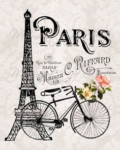 Eiffel Tower and Bicycle & French Parisian Print, French Country Cottage Style, Gray and Black The post Paris France Illustration Art Print Eiffel Tower Bicycle and Flowers Artwork appeared first on Trendy. Vintage Paris, Vintage Retro, Vintage Romance, Vintage Gifts, Vintage Kitchen, Vintage Travel, French Vintage, Paris Kunst, Paris Art