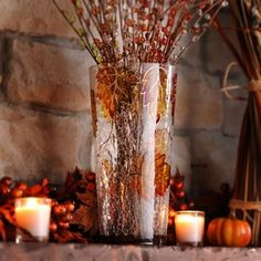 Fun idea: fill our Hand-Painted Leaf Vase with your favorite Autumn flowers for a great decor look in your home! #kirklands #harvest