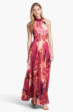 Eliza J Print Chiffon Halter Maxi Dress available at #Nordstrom - Wedding Season