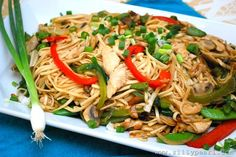 Chicken Chow Mein Recipe by The Silly Pearl SFSmarties.This is so Yummy! I used roasted red peppers, no ginger, and soba noodles. Entree Recipes, Asian Recipes, Yummy Recipes, Recipies, Cantonese Cuisine, Chicken Chow Mein, I Love Food, Fun Food, Entrees
